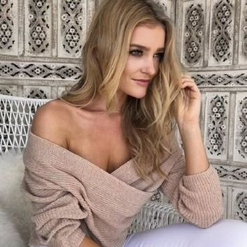 New Women Nude Plain Pleated Off-shoulder Plunging Neckline Cross Front Pullover Sweater