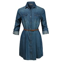 Long Sleeve Chambray Button Up Denim Shirt Dress with Faux Leather Belt