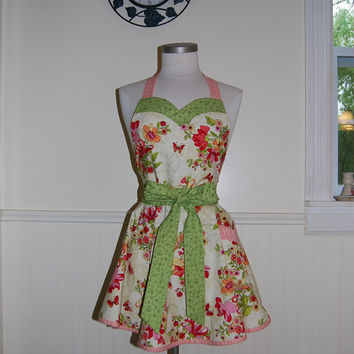 Lovely Floral Pink Green Cream Full Circle Skirt Hostess Apron with Pocket