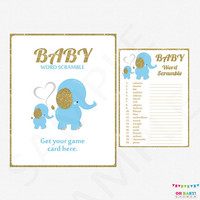 Baby Word Scramble, Elephant Baby Shower Games, Blue and Gold Baby Shower, Baby Shower Sign, Printable Baby Shower Games, Glitter, ELLBG2