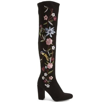 MIA Serena - Black Stretch Microsuede Floral Embroidered Over-The-Knee Boot