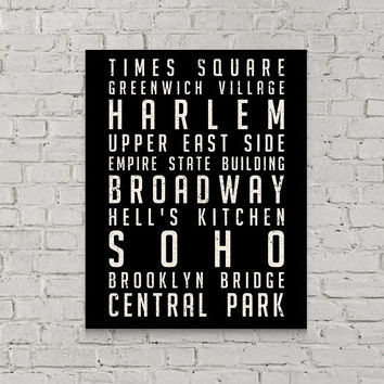 New York City Subway Art - Canvas Wall Art, Home Decor, Ready to Hang, Housewarming Gift, Subway Sign, Brooklyn, Soho, Central Park