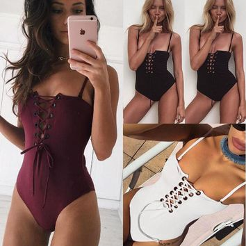 Bandage One Piece Swimsuit [11604639439]