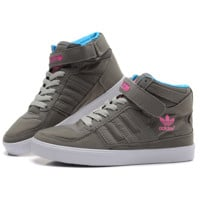 ADIDAS Grey Logo Print High Tops Trending Fashion Casual Sports Shoes Sapphire G-CSXY