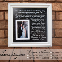 To Mom and Dad on our Wedding Day Frame - Custom Picture Frame - Parent Gift for Wedding - Parents  - Mom & Dad - Thank You Gift - 15x15