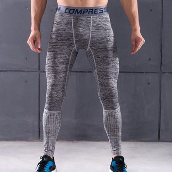 Slim Fit Pants Men Fitness Leggings Elastic Patchwork Compression Tights Men's Joggers Skinny Sweatpants Casual Trousers