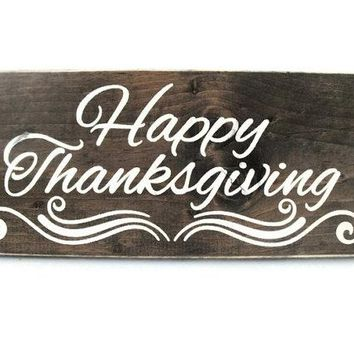 Happy Thanksgiving Sign Rustic Wood Wall Art Home Decor Door Hanger (#1217)