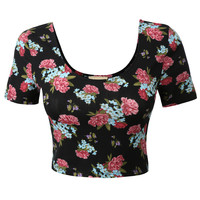 Womens Fitted Short Sleeve Floral Print Crop Top with Stretch