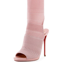 Christian Louboutin Cheminene Stretch-Knit Open-Toe Red Sole Bootie