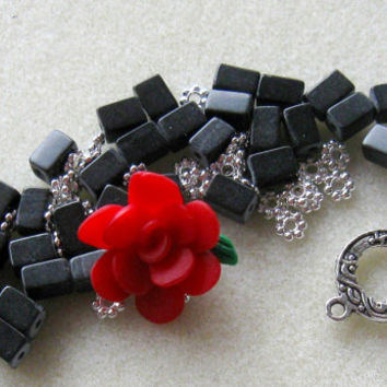 Polymer Clay Flower Bead Gemstone Beads Red Black Silver Pewter Bracelet Beads Kit DIY Jewelry Kit
