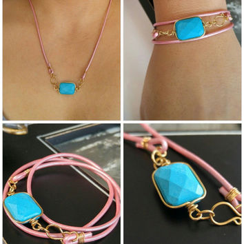 Turquoise pink leather bracelet, turquoise stone bezel necklace, leather necklace, triple wrap leather bracelet, 3x wrap bracelet, boho