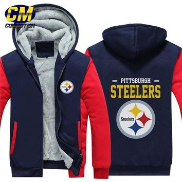 NFL American football winter thicken plus velvet zipper coat hooded sweatshirt casual jacket Pittsburgh Steelers