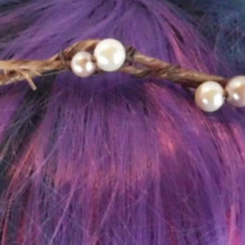 Pearl Crown, Circlet, Bridal Hair Accessory, Vine, Hair wreath Natural, Wedding, Bridal, Headband, Circlet, Bohemian, head wreath, Simple