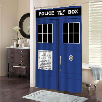 tardis dr who special custom shower curtains that will make your bathroom adorable.