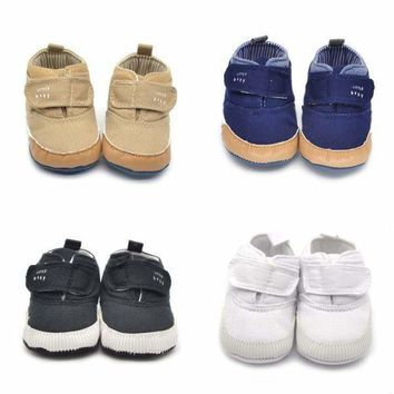 US Infant Baby Boys Crib Shoes Soft Sole Toddler Shoes Sneaker Newborn 0-18Month