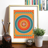 Orange pattern inspired in india geometric fabrics Poster inspired India fabric patterns bright colors good vibe pattern simetric geometric