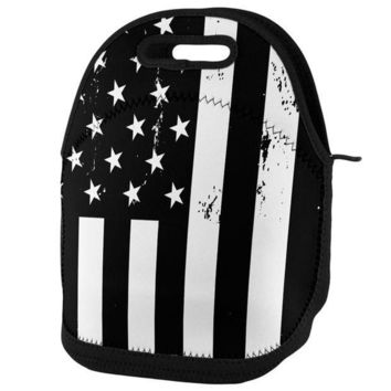 PEAPGQ9 Black and White American Flag Lunch Tote Bag