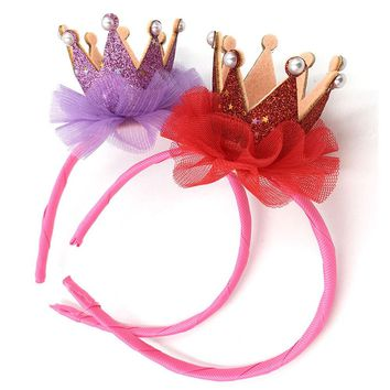 1PC Lovely Girls Crown Lace Flower Headband Kids Glitter Shinning Birthday Party Hairbands Kids Head dress Hair Accessory