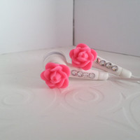 Super cute Bright Pink Rose Earbuds  With Swarovski Crystals
