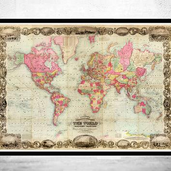 Antique World Map 1854 Mercator projection