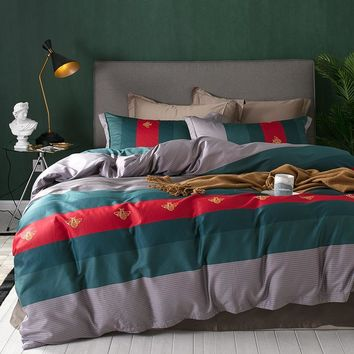 Cool Luxury 60S Egypt Cotton Printed Fashion stripes Bedding Set Silky Soft Duvet Cover Bed Sheet Pillowcases Queen King size 4PcsAT_93_12