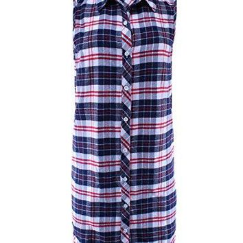 Ladies Code Womens Sleeveless Flannel Plaid Button Down Shirt Dress