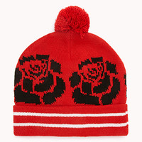 Abstract Rose Pom Pom Beanie