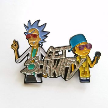Get Schwifty Glitter Rick and Morty Fanart Hat Pin