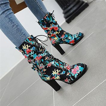 Women Fashion Flower Print Round Toe Square Heel Buckled Ankle Boots