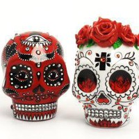Forever Day of Dead Red Roses Skull wedding by sweetiecaketopper