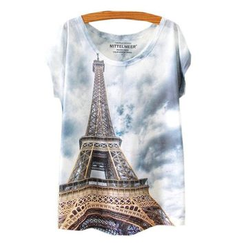Paris Eiffel Tower All Over Print - Women's FLowy Loose T-Shirts