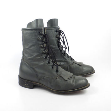 Roper Boots Vintage 1980s Gray Leather Granny Lace up Packer Laredo Women's size 6