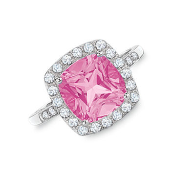 Lab-Created Pink and White Sapphire Ring in 10K White Gold with Diamond Accents
