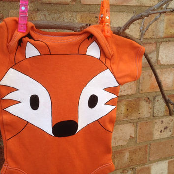 Halloween, Orange fox bodysuit, fox sleepsuit, fox Onesuit, UK seller, newborn, Halloween costume baby, long or short sleeves, 0-36 months