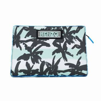 KENZO PALMS STRIPED SMALL LEATHER MAKEUP BAG - WOMEN - KENZO - OPENING CEREMONY