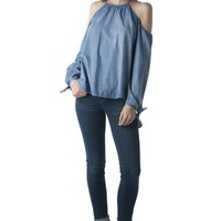 SHAY COLD SHOULDER TIE SLEEVE TOP - DENIM
