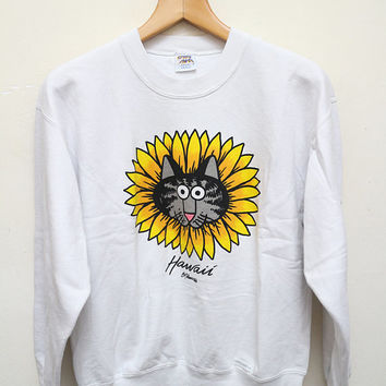 Vintage KLIBAN B.Kliban Cat Sunflower Crazy Shirt Pullover Sweater Sweatshirt White Color Size S