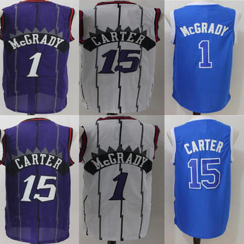 New Men's Stitched #1 Tracy McGrady #15 Vince Carter Purple/White/Blue Replica Basketball Jerseys Free Drop Shipping Mix Order