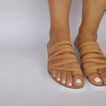 Beige leather sandals comfort in every step, chic anatomic sandals with flexsole technology feel it every step of the way