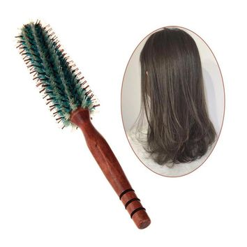 Portable Natural Bristle Anti-static Curly Wood Handle Hair Care Styling Comb Radial Brush Hairdressing Tool For Salon Home Use