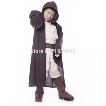 4pcs New Arrival Child Super Deluxe Jedi Warrior Costume Kids Star Wars Fantasia Halloween Carnival Party Fancy Dress Outfit