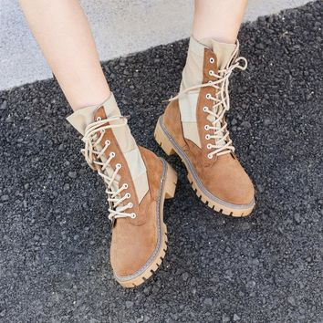 Patchwork Lace Up Round Toe Low Heel Half Martin Boots