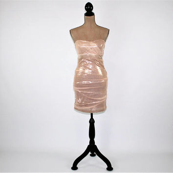 Sexy Dress Strapless Wiggle Dress Sparkly Sequin Party Dress Blush Pink Empire Waist Junior Dresses XS Vintage Clothing Womens Clothing