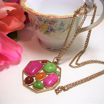 Mother's Day, Vintage Lucite Stone Necklace, Costume Jewelry, Pendant, Gold Plated Chain, Gift for Her, Fashion Accessory, Green, Pink Brown