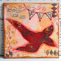 Flying Bird Mixed Media Painting on 8x8 Canvas Board