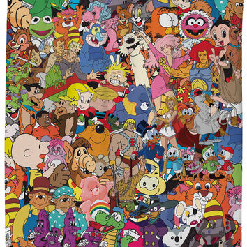 80's Cartoon Collage Shower Curtain