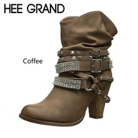 HEE GRAND 2018 New Women Fashion Boots Buckle Strap High Heel Boots Winter Shoes Motorcycle Ankle Boots Mujer Bootie XWX6928