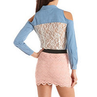 Lace Back Cold Shoulder Denim Top: Charlotte Russe