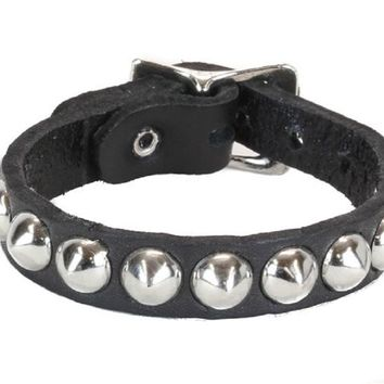 1-Row Silver Conical Stud Quality Leather Wristband Cuff Goth Metal
