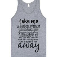 take me away-Unisex Athletic Grey Tank
